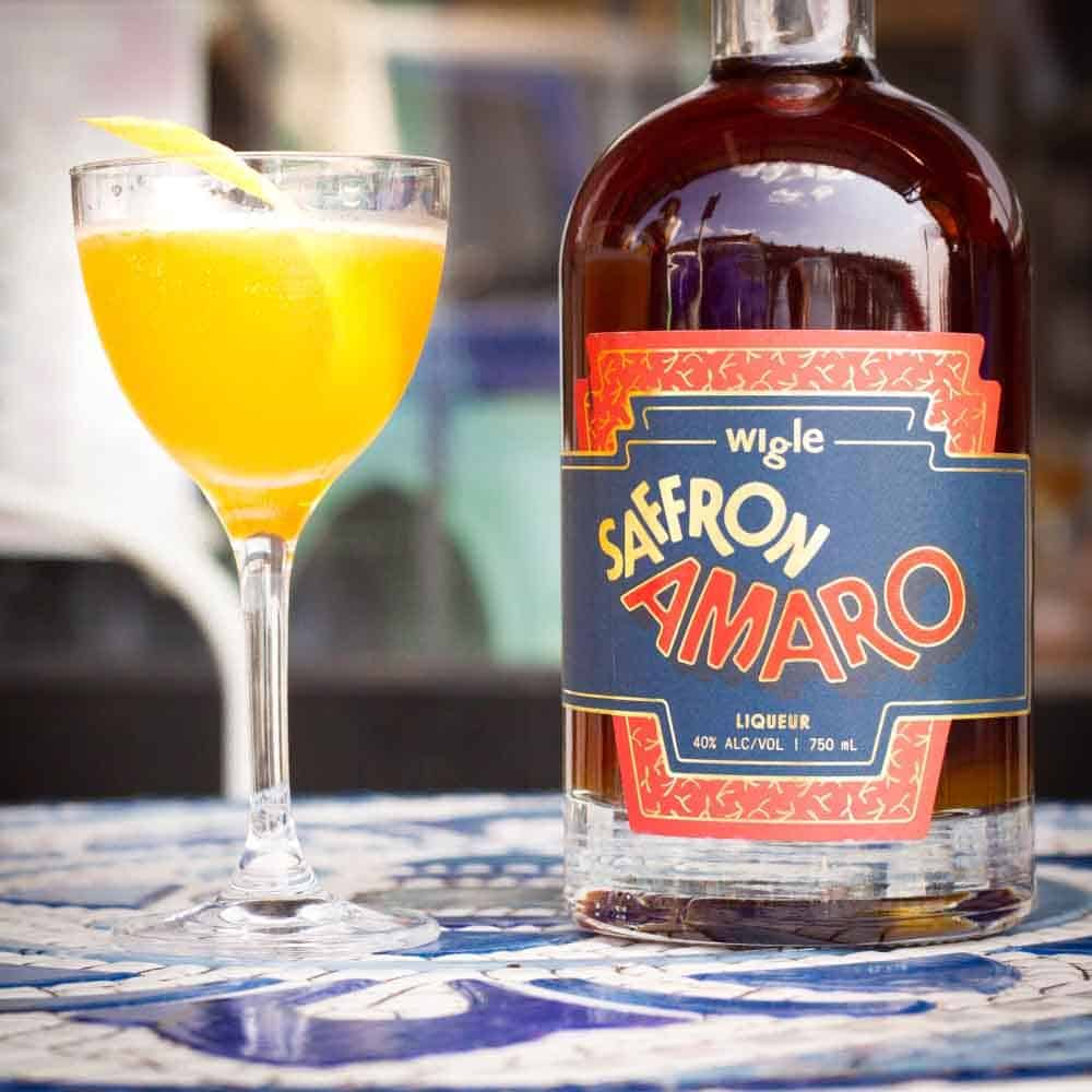 Wigle Saffron Amaro with cocktail at Defer